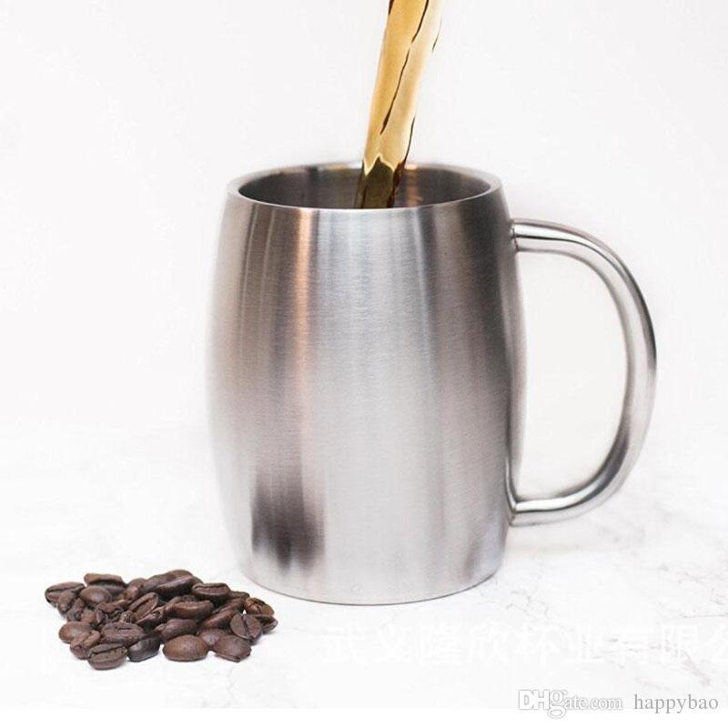 14oz 420ml مع غطاء الفولاذ المقاوم للصدأ القهوة البيرة القدح السفر في الهواء الطلق جدار مزدوج بهلوان معزولة مع مقبض هدية عيد الميلاد