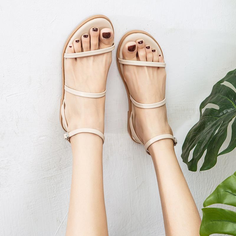 2020 Sommer-beiläufige Frau Sandalen Schnalle Gladiator klobig Riemchen Sandalen öffnen Toe Knöchelriemen Sling Schuhe Y200702