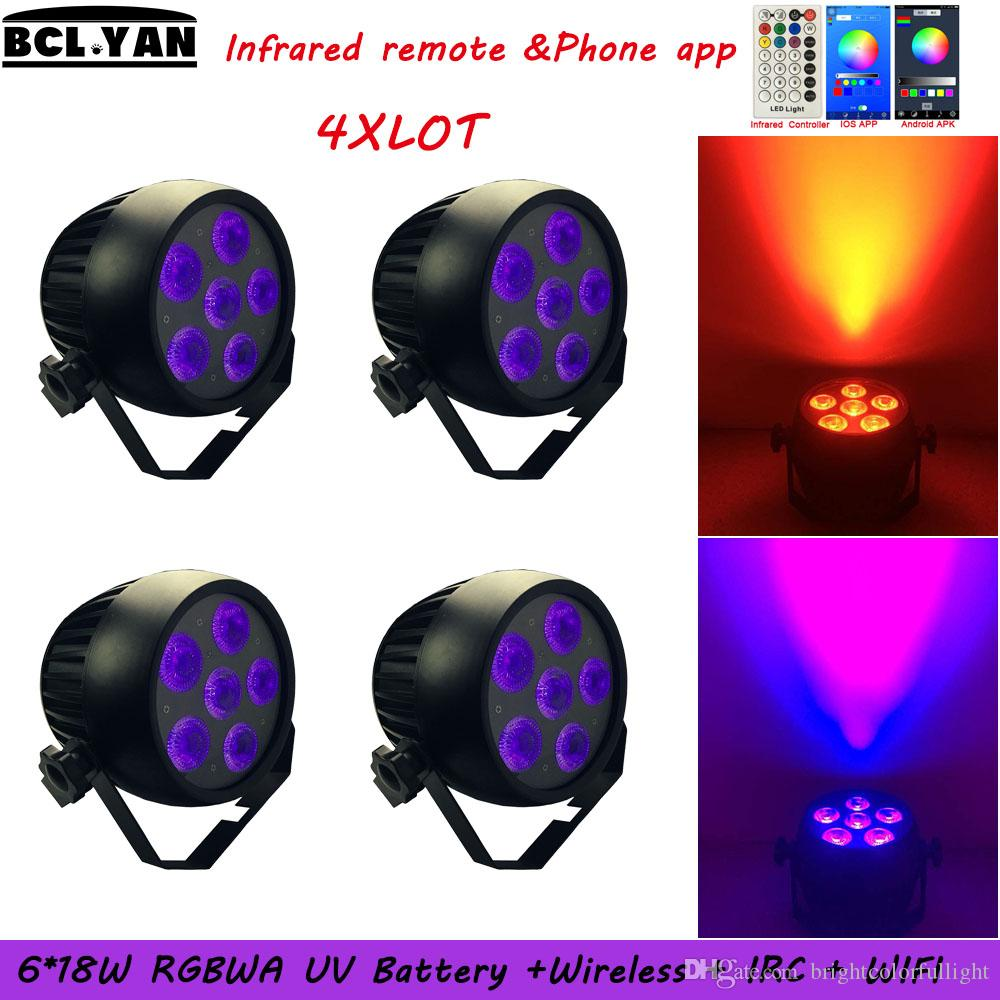 New IP65 Smart Battery+Wifi+Remote LED Uplighting 6*18W Waterproof Par Light High Quality RGBWA UV Color Mixing