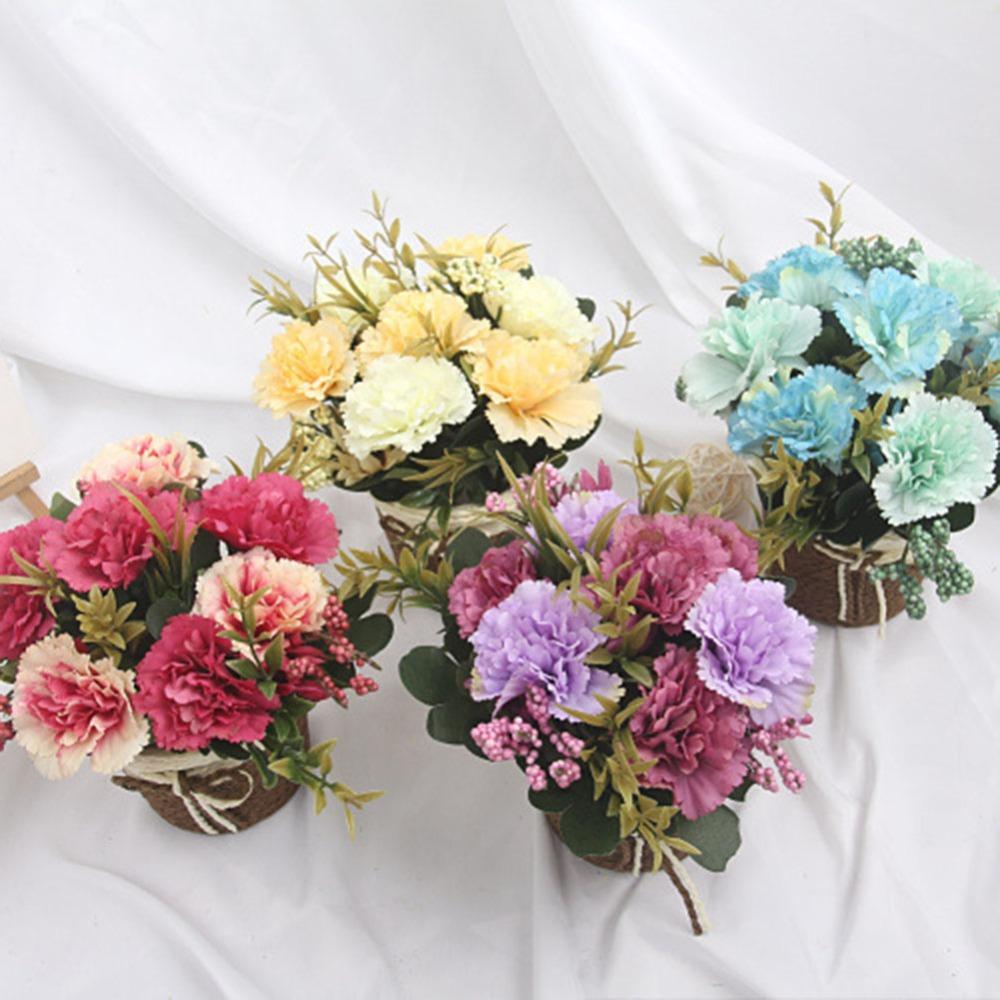 Yağlıboya Rattan Dokuma Çiçek Sepeti içinde Plastik Yapay Karanfil, anneler Günü Hediye Küçük Bonsai