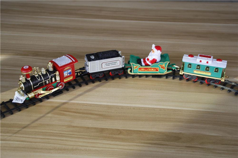 Children Lights And Sounds Train Car Toy Set Christmas Railway Tracks Toys for Kids Boy Toy Xmas Train Gift Home Decoration