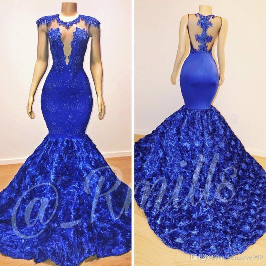 2019 New Royal Blue Cap Sleeves Lace Mermaid Prom Dresses Tulle Lace Appliques 3D Floral Floor Length Evening Gowns Vestidos De Festa