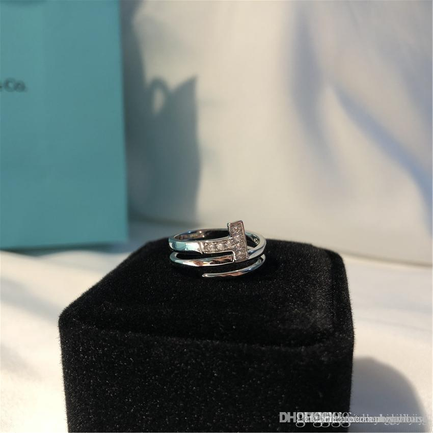 T anneaux réglables amour bague en diamant de luxe célèbre designer de bijoux de marque double T 925 fiançailles en argent sterling cadeau de mariage bague avec boîte