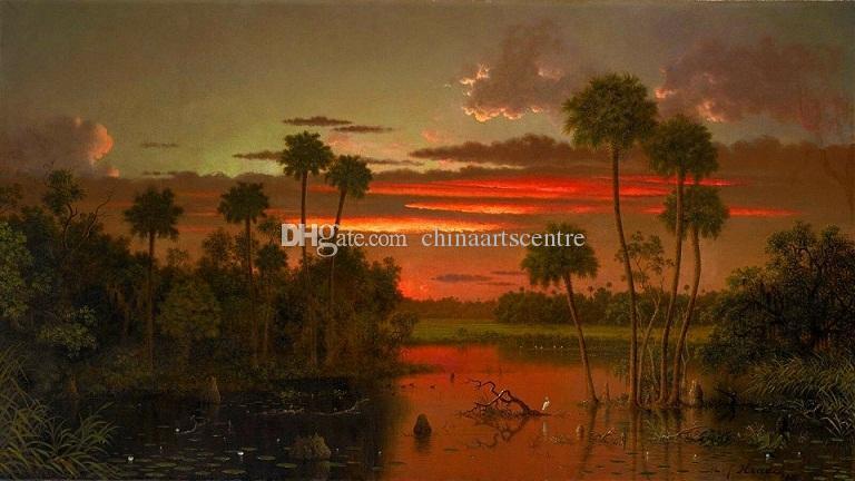 Pintado a mano Martin Johnson Heade - The Great Florida Sunset Landscape repro Pintura al óleo sobre lienzo Wall Art Home Deco de alta calidad l64