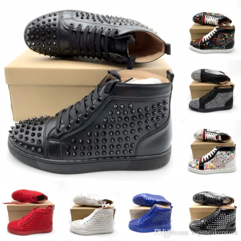 Лучшего качество Bottoms стилист обувь Мода кроссплатформенной Тройные Черные Белая Повседневная обувь партия Красной Синяя Мужчины Женщина Кожаные Сапоги Кроссовки