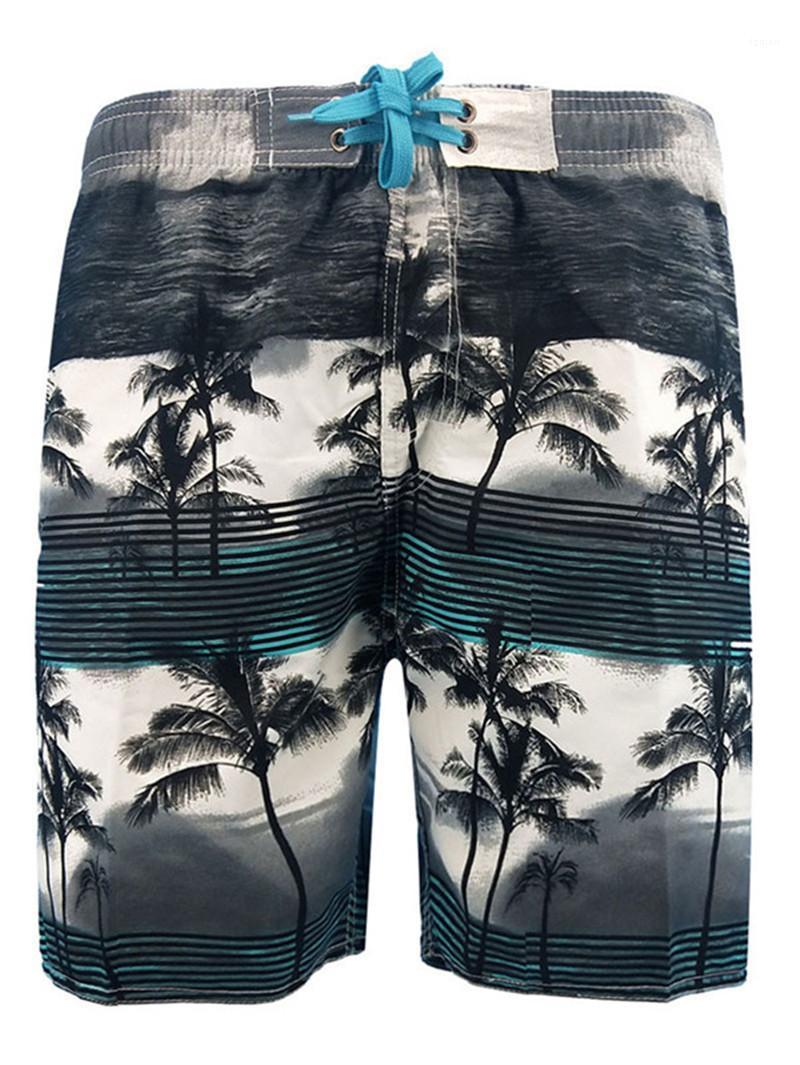 الرياضة منزوع الرباط جيب السراويل الملابس مصمم رجالي شجرة جوز الهند ومخطط طباعة السراويل الصيف على النقيض من اللون الملابس