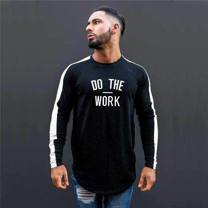 Bodywork de travail de concepteur avec la même jeunesse populaire forme physique remise en forme T-shirt à manches longues lettre masculine couleur contraste couleur Slim-type Cotton Sports Shirt