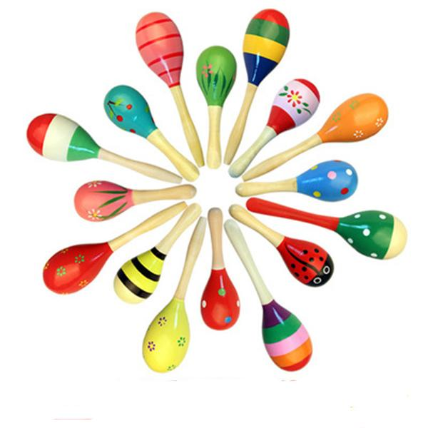 Colorful Sand Hammer Baby Rattle Infant & Toddler Mini Wooden Maracas Child Madera Musical Instrument Baby Shaker Children Gift Toys DHL