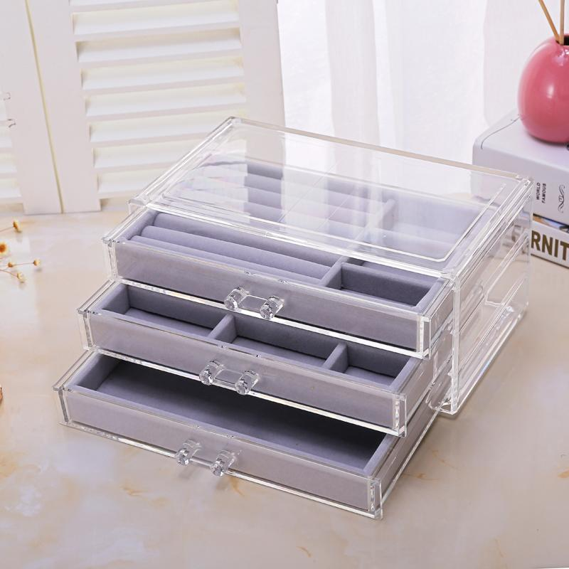 Three pumping cosmetics storage box jewelry necklace finishing box earrings ring display rack flannel tray storage