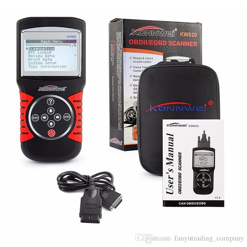 KONNWEI KW820 OBD II Automobile erreurs lecteur de code scanner auto diagnostic OBD 2 Outil multi-langues avec Retail box UPS DHL Livraison gratuite