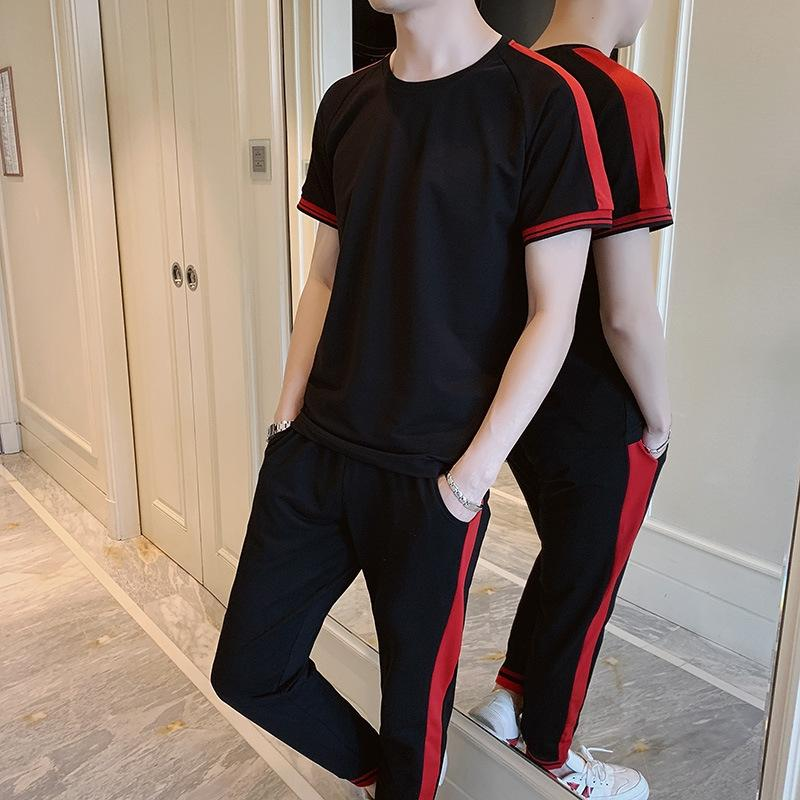 T-shirt de manga curta masculina 2020 esportes roupa da juventude T-shirt de funcionamento de lazer roupa terno dos homens terno