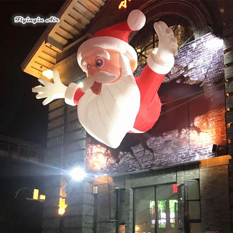 4 м высота надувной Санта-Клаус открытый вход декоративные взорвать Дед Мороз для украшения дома стены
