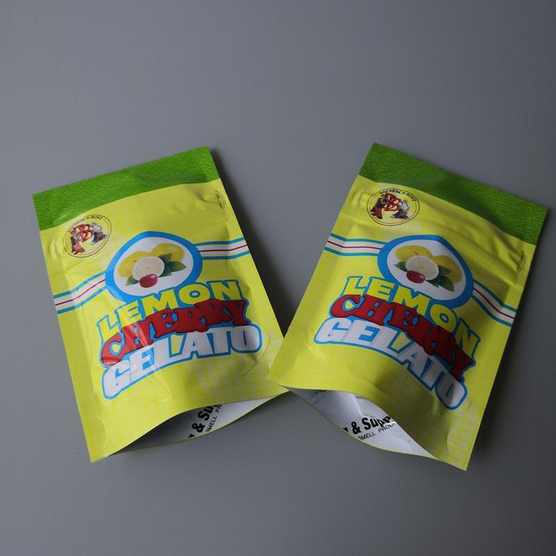 الليمون CHERRY GELATO حقيبة الليمون CHERRY GELATO 3.5 رائحة مايلر واقية الحقيبة البريدي قفل دليل الطفل محكم للتغليف عشب جاف