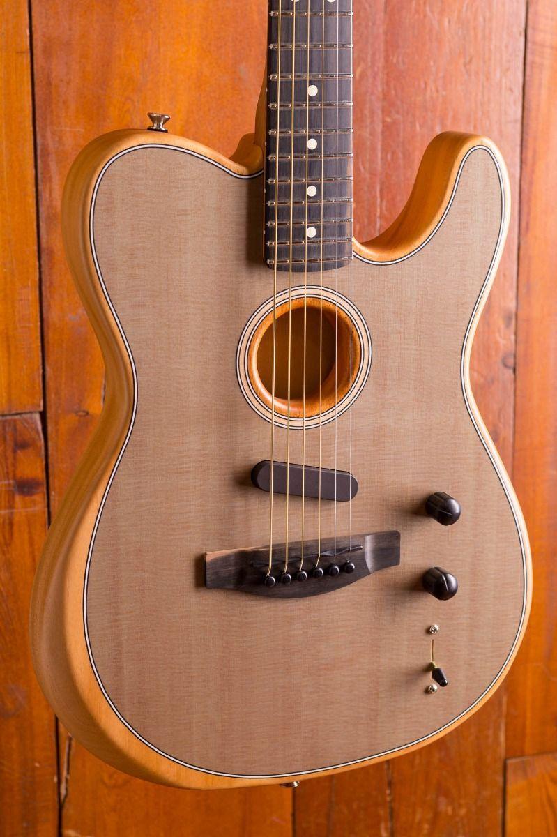 Custom Shop Acoustasonic Tele Sonic Grey Electric Guitar Polyester Satin Matte Finish، Spurce Top، Dot Inlay، Chorme Hardware
