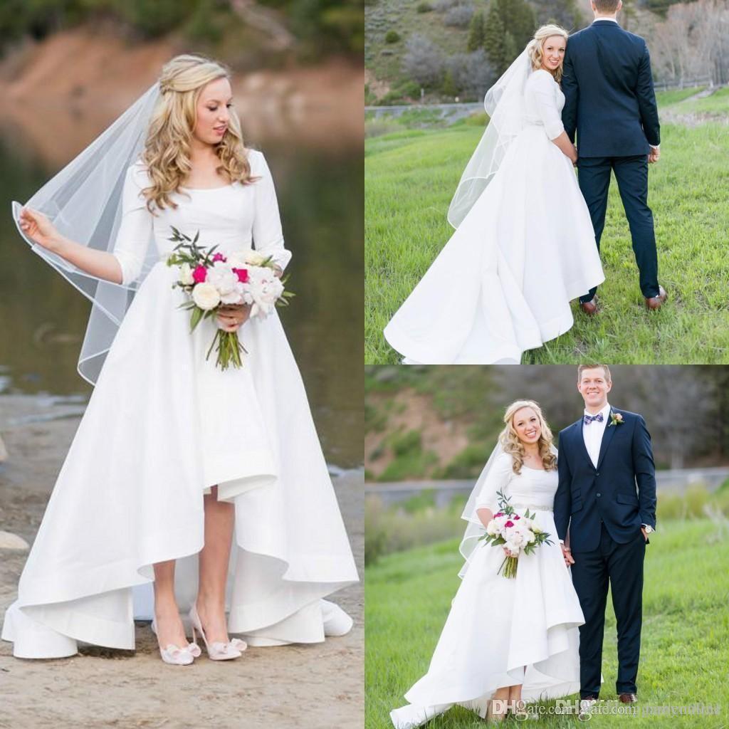 Novo Verão Barato Praia Boêmio A Linha de Vestidos de Casamento 1/2 Mangas Hi-Lo Scoop Pescoço Vestidos de Noiva Vestidos de Noiva robe de mariée