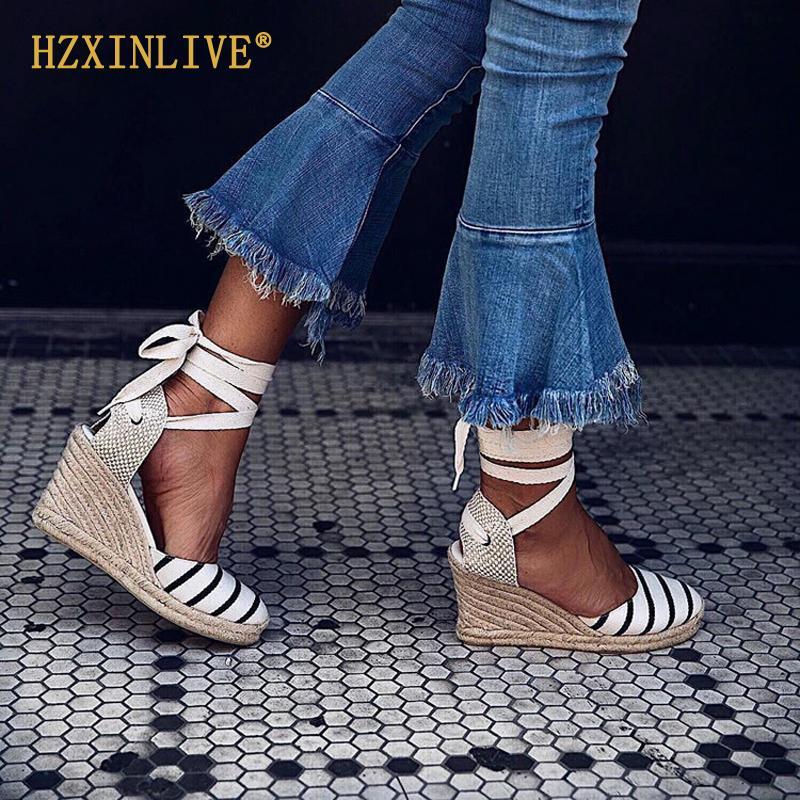 2019 Yaz Platformu Takozlar Sandalet Kadın Tuval Espadrilles Sandalet Ayak Bileği Kayışı Yüksek Topuklu Gladyatör Sandalet Insta Ayakkabı Kadın Y19070303