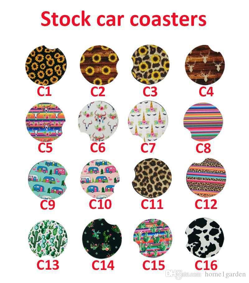 22 couleurs Boisson Néoprène Coaster Cactus Fleur Unicorn Imprimé tasse à café Tapis doux ronde Coaster antidérapante pour voiture Décoration