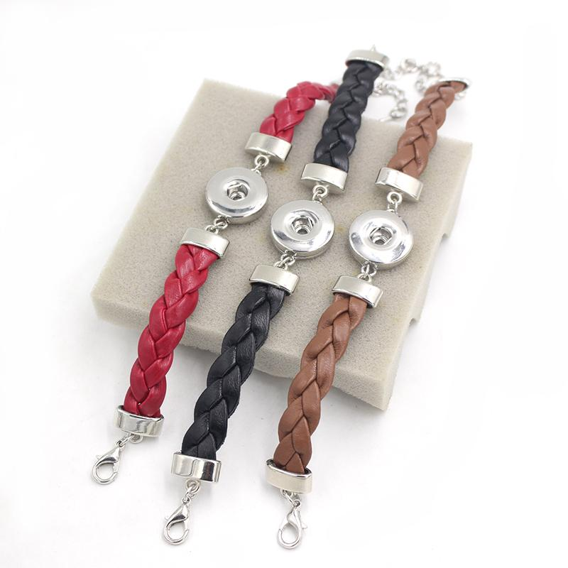 Wholesale New Arrival 3 Colors Braid Leather Bracelet Bangle Interchangeable Snap Bracelet for women 18mm Snap Jewelry