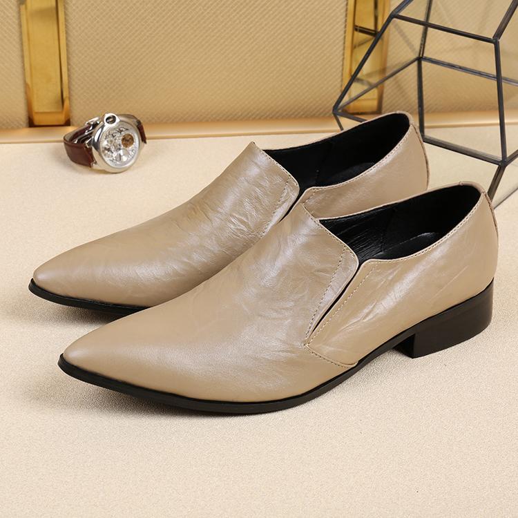 Chaussures de ville en cuir blanc classique concise pour hommes d'affaires robe robe formelle hommes plat
