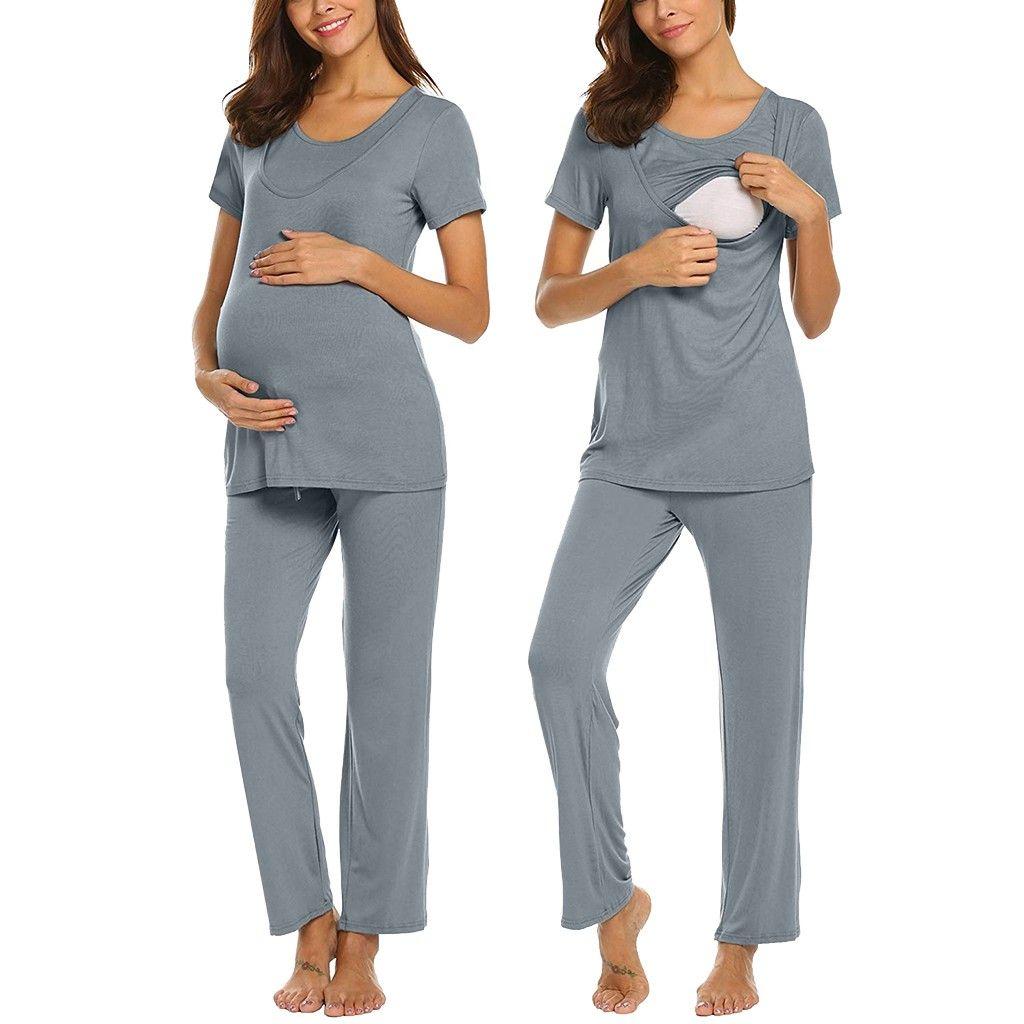 Hot 2019 Fashion Women Maternity Short Sleeve Nursing Baby T-shirt Tops+Stripe Pants Pajamas Set Kids & Mother Drop Shipping