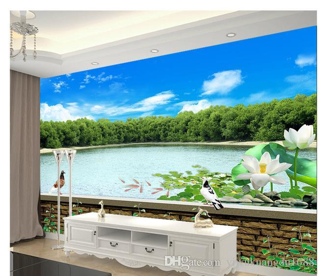 3D 풍경 물 연꽃과 조류 모조 벽돌 패턴 벽지 벽 3 d 거실