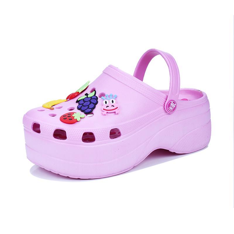 Симпатичные сандалии женщины увеличивают высоту 6 см сандалии на платформе Сабо мулы обувь женские тапочки сандалии