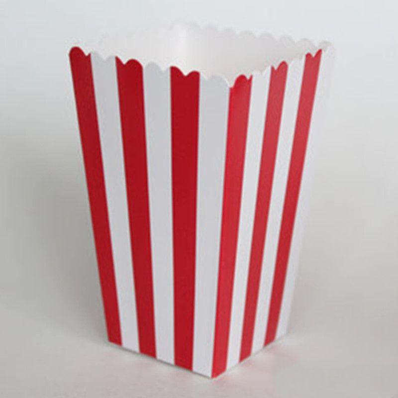 12pcs / pack rot gestreiftes Papier Popcorn Boxen Mais Favor Taschen für Candy Hochzeitsdeko-Geburtstags-Party Supplies