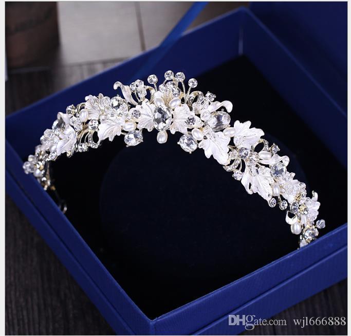 Adornos hoja corona de la novia del pelo de los aros de matrimonio pelo de la boda accesorios de vestir