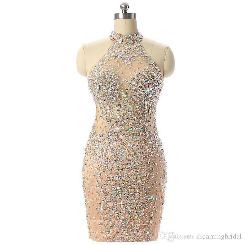Новый дизайн шампанского короткого выпускного платья сексуальная русалка высокая шея см. Через кристаллы бисера вечерние коктейльные платья SP135