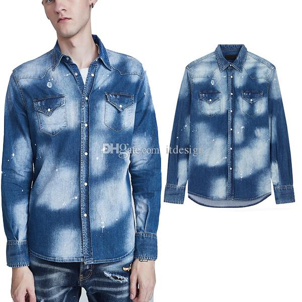 Size 3XL Cool Guy Patched Rips Faded Bleached Denim Shirt Slim Fit Long-Sleeves Italy Style Design Casual Wear