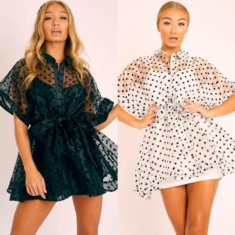 Женщины-стрит пляж Ladies сетки бикини Обложка Стиль Прозрачный Блузка Casual Summer Boho рубашка