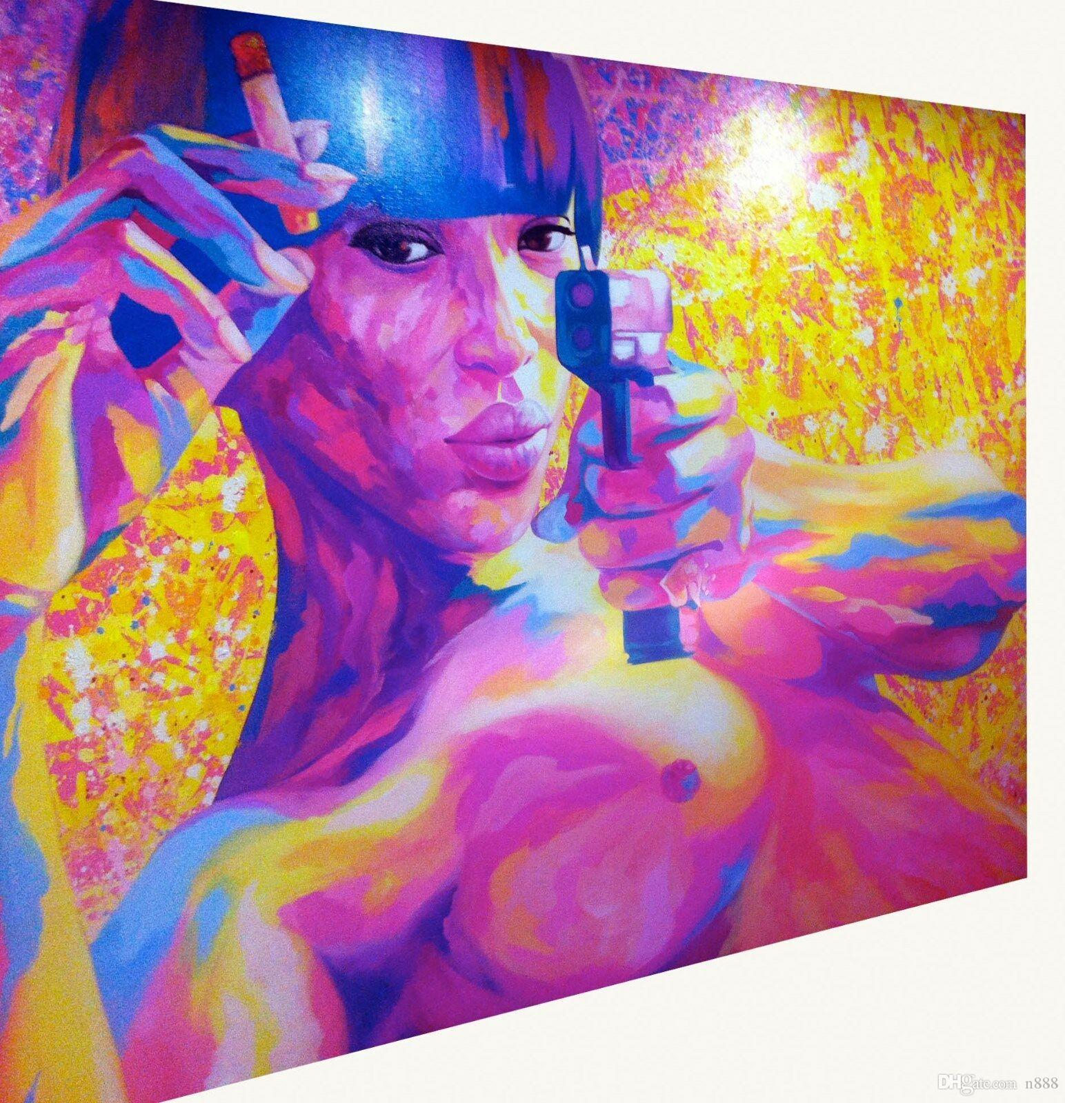 여자 누드 보라색 GUN 거리 예술 큰 벽 홈 인테리어 지에 handpainted HD는 기름에 캔버스 벽 예술 캔버스 그림 200217 회화 계속 인쇄