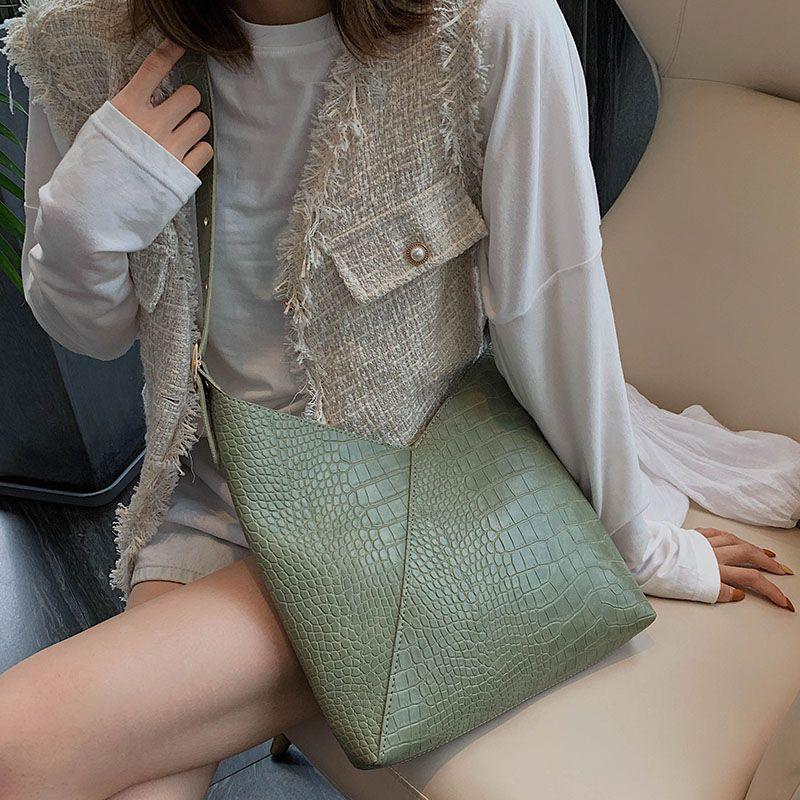 High Capacity-Krokodil-Muster PU-Leder-Schulter-Beutel für Frauen 2019 Composite-Umhängetasche Messenger Bag Lady Handtaschen