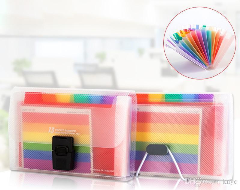 A6 Bolsa de documentos Lindo Color Arco Iris Mini Bill Recibo Archivo Bolsa Bolsa Carpeta órgano Organizador de archivo Suministros de oficina billetera en expansión