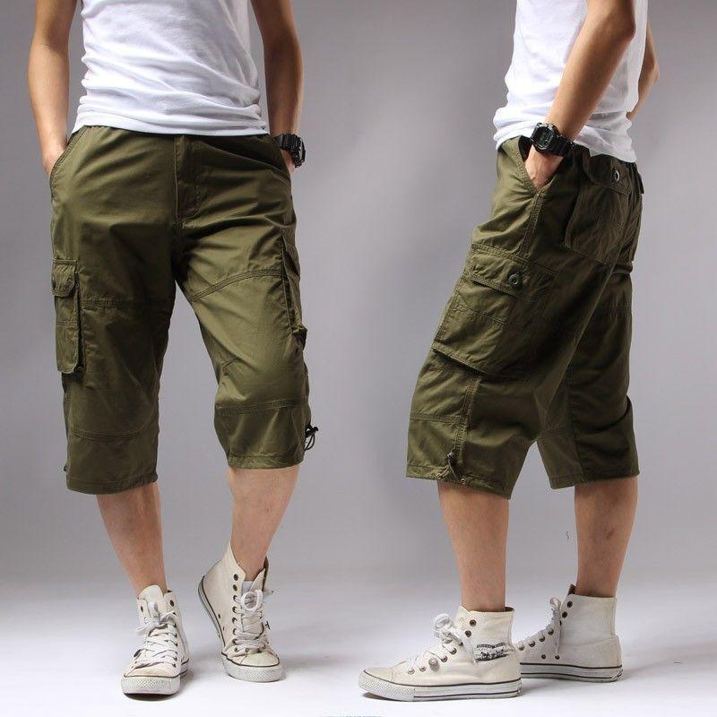 Casual Bolsillos sólido regular pantalón corto verde caqui Negro del verano del algodón de Carga hombres del ejército de los hombres de 1505 # Y200511