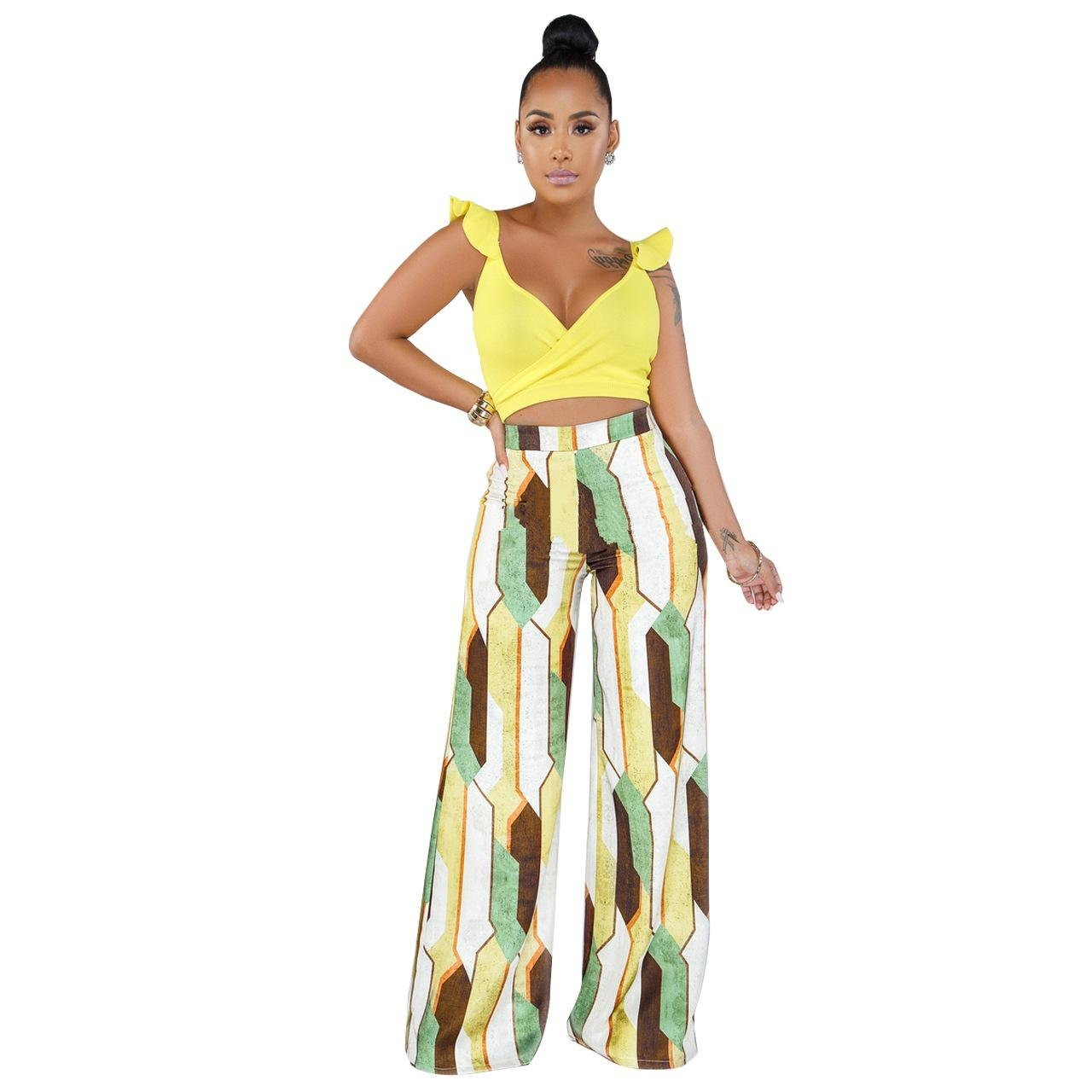 2019 Summer European and American Women Comfortable Sexy V Collar Outdoor Bohemian Style Two-color Two-piece Set #Q215