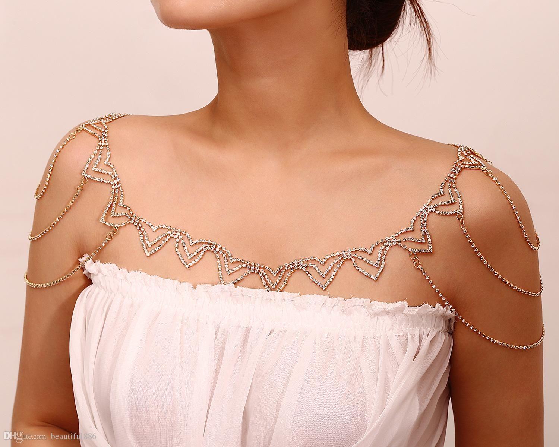 2018 neue Heiße Verkauf 1 STÜCK Europa Korea Halsketten Für Frauen Schmuck Stilvolle Einfachheit Strass Schals Kleidung Kette Schultern Halskette Geschenk