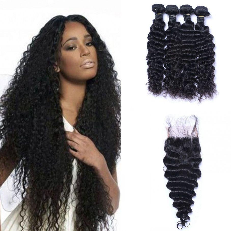 Перуанские Виргинские выдвижения волос человека с закрытием Deep Wave Lace Closure с 4 Связки волос Уток Ping