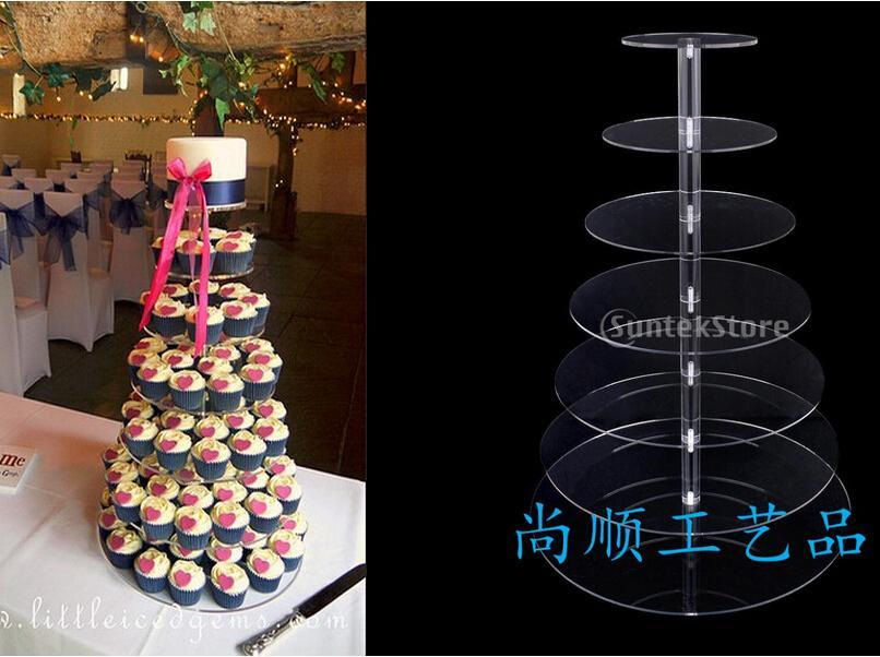 7 Nivel más vendido acrílico soporte de la magdalena de acrílico Cupcake Stand soporte de la magdalena de acrílico