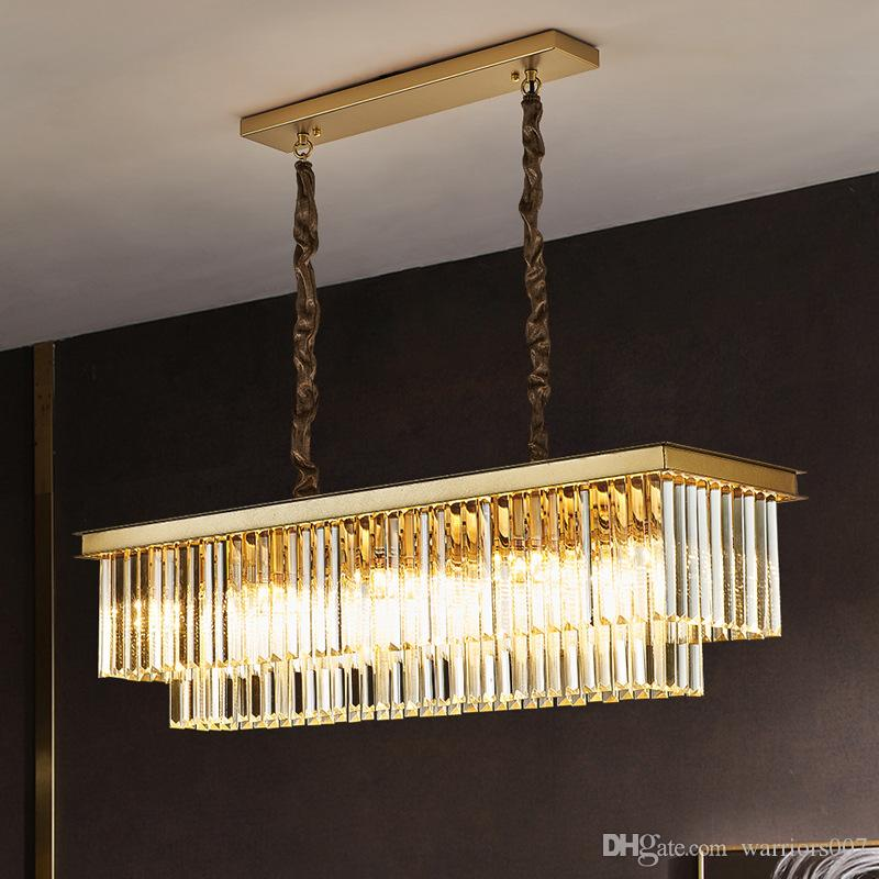 Gold Rectangle Kristallleuchter-Beleuchtung für Esszimmer LED E14 Kronleuchter Led Lampen Indoor Leuchten
