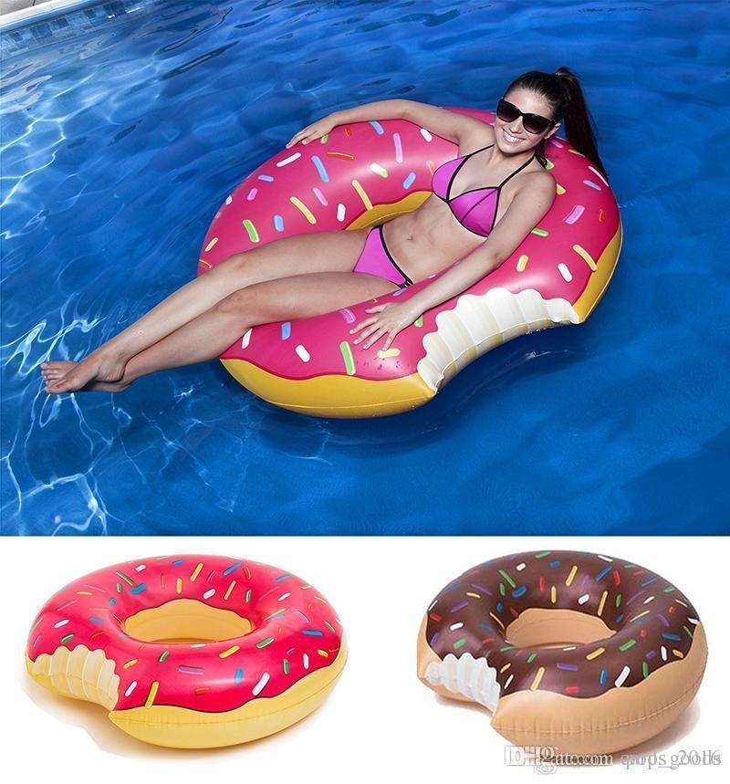 48 Inç Dev Donut Yüzme Şamandıra Şişme Yüzme Yüzük Yetişkin Havuzu Yüzen 2 Renkler (Çilek ve Çikolata)