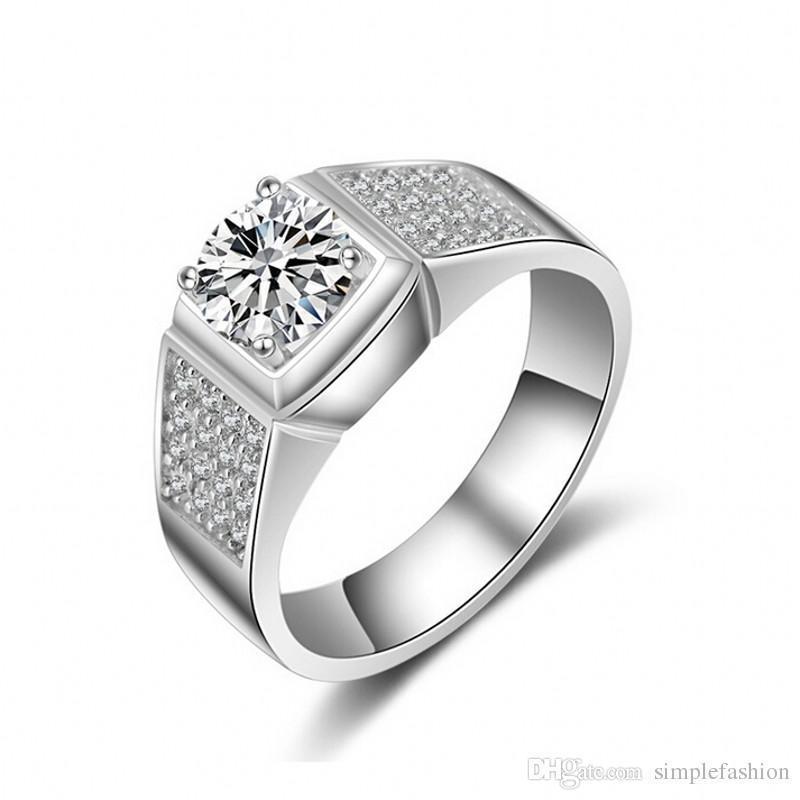 Erkekler 1CT Taşlı elmas 925 Gümüş erkek Nişan Parmak halkası Hediyesi için Vecalon Klasik Moda Takı El yapımı düğün Band halka