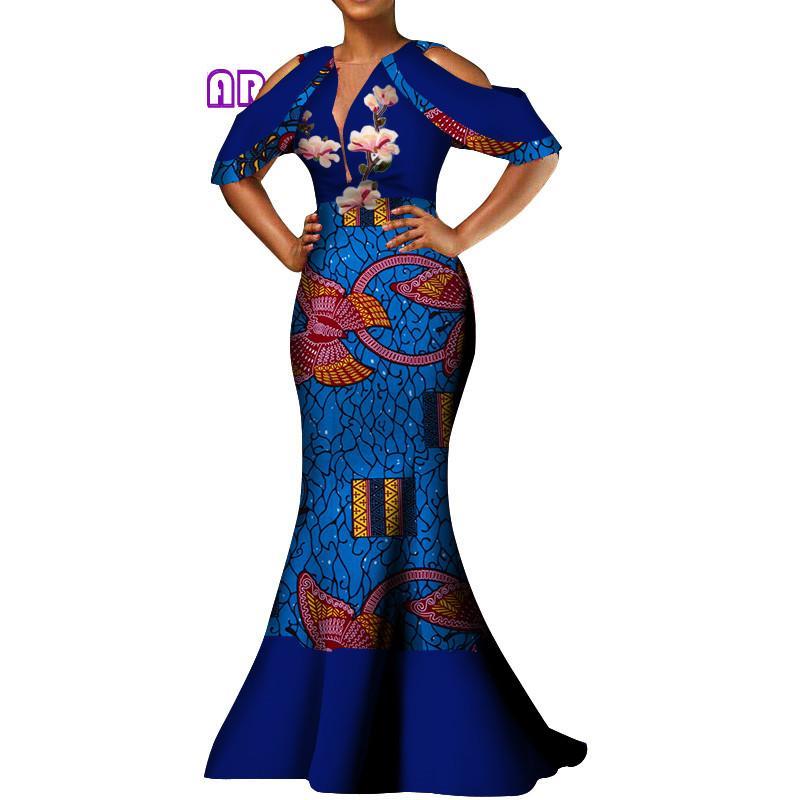 Mulheres Africano Vestidos de Cera Impressão Bazin Riche Dashiki Vestido Longo Sexy Profundo Decote Em V Ombro-desencapado Mangas Wedding Party Dress WY3752