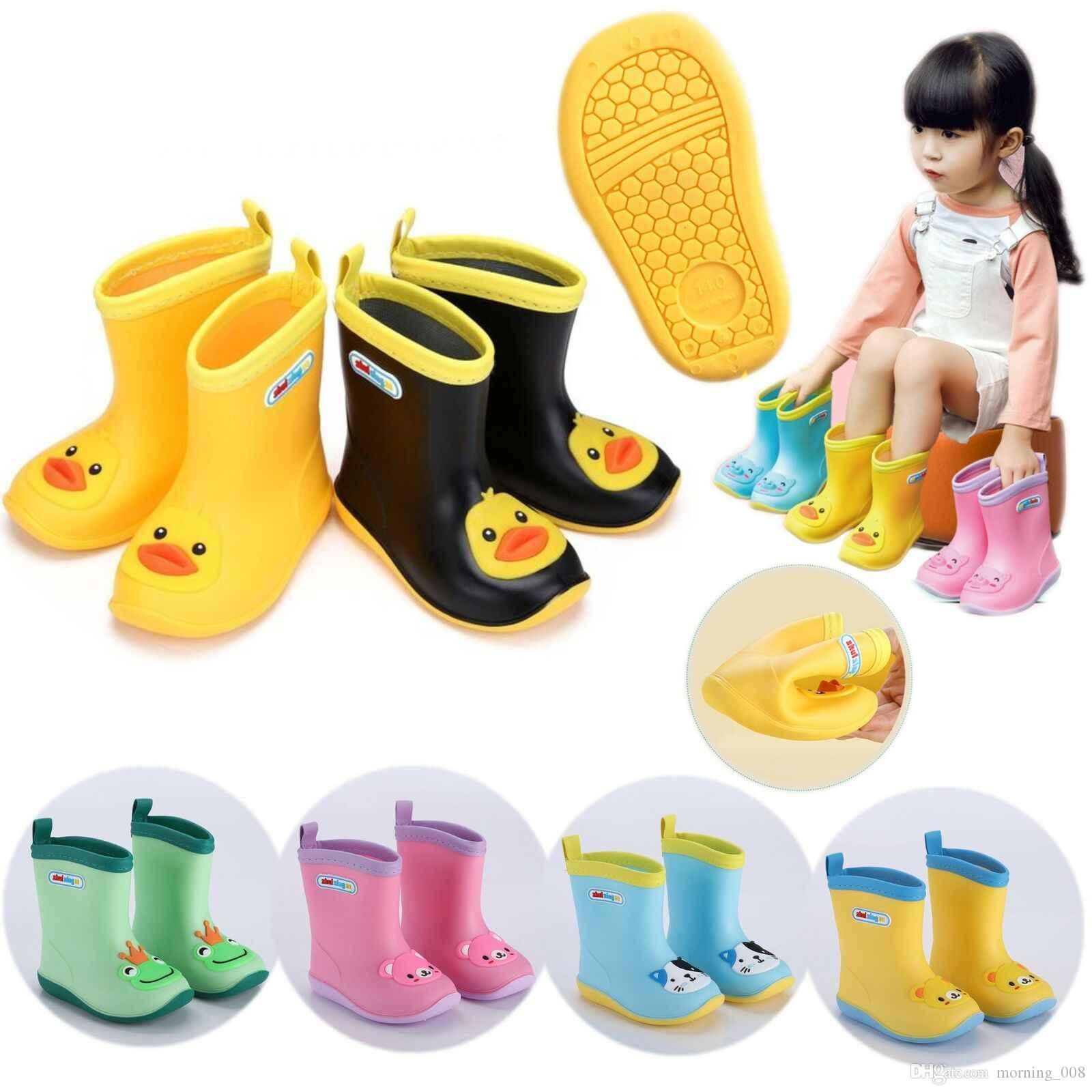 Kids 3D Cartoon Wasserdichte Stiefel Wellies Wasser Regen PVC Anti-Rutsch-Stiefel Kinder Jungen Mädchen Four Seasons Regen Schuhe EUR Größe 24-31