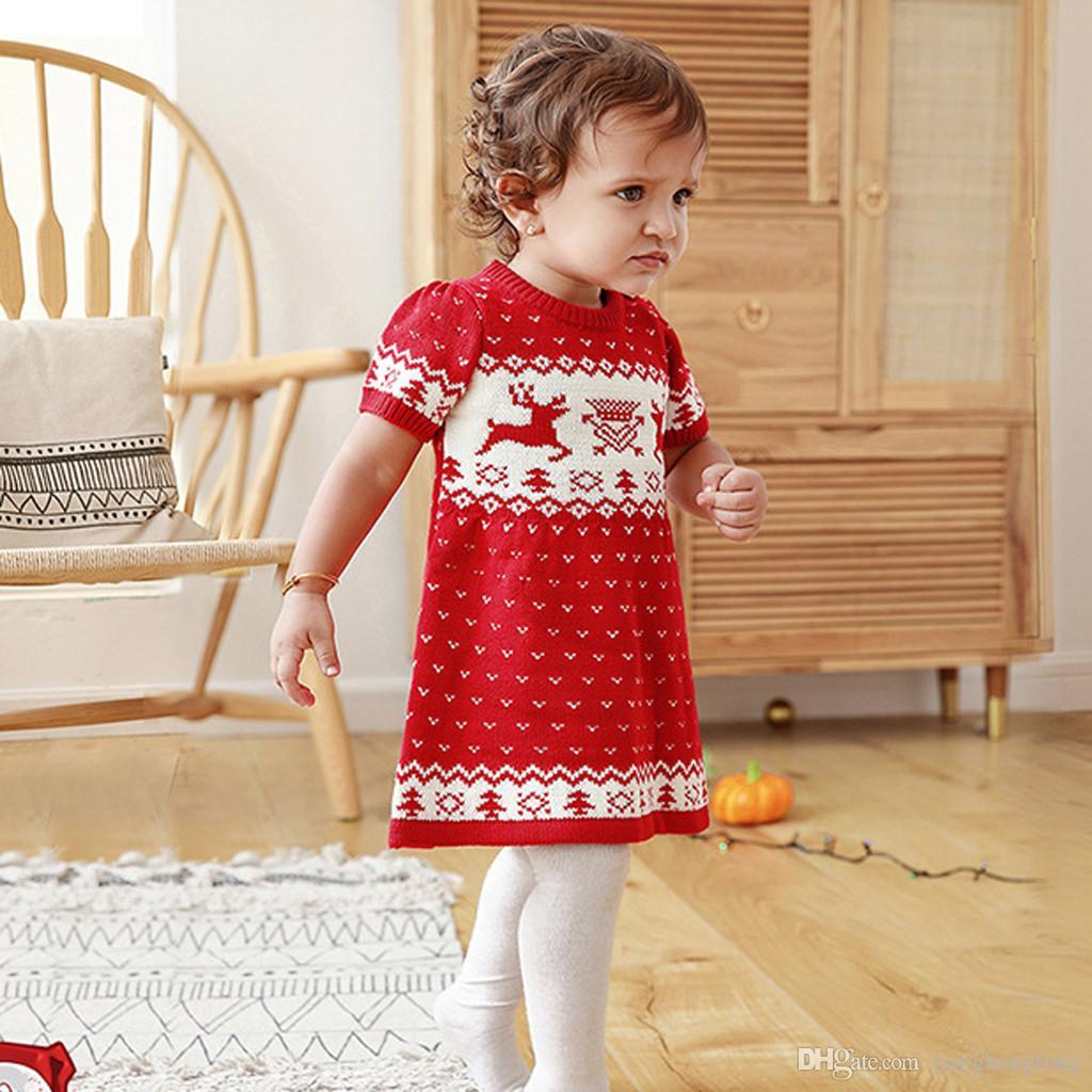 Mädchen-Kleid-Kleinkind-Kind-Baby-Mädchen-Weihnachten Weihnachten Deer gestrickte Häkeln Prinzessin Party Kleid vestido infantil