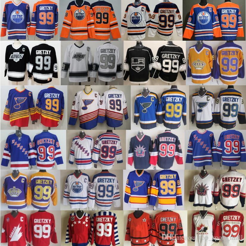 الرجال نيويورك رينجرز 99 اين Gretzky الفانيلة هوكي سانت لويس بلوز لوس انجليس الملوك ادمونتون مزيتات كندا خمر الأزرق أبيض أسود CCM