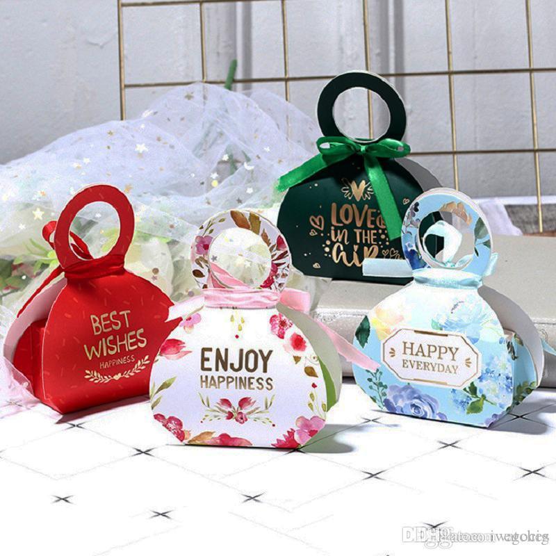 Caja de regalo de bricolaje 6 estilos calidad bolsa de regalo de caramelo de la boda caja de regalo creativo de diseño de unión exquisita