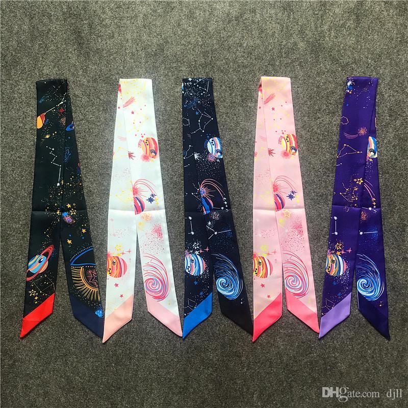 Bolsa planeta de la fantasía de la mano bufandas de las mujeres de seda imitado verano turbante del pelo Cabeza Bufanda Pañuelo de impresión manejar la Bolsa de cinta bufandas largas Wraps