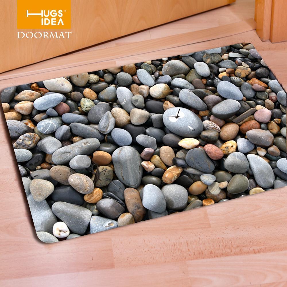 HUGSIDEA divertido puerta principal Mats 3D patrón de la piedra antideslizante Inicio Piso Moqueta Tapis Bienvenido Entrada Felpudo para las alfombras del dormitorio