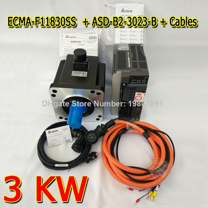 Genuine Delta AC Servo Motor 3 KW ECMA-F11830SS with Brake and Delta AC Servo Motor Drive ASD-B2-3023-B with Full Set of Cable